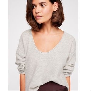 FREE PEOPLE FOREVER CASHMERE V NECK SWEATER GRAY L
